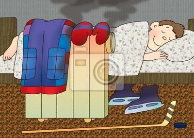 Постер Пожарная безопасность Мальчик положил его на электрический обогреватель мокрую одежду и спатьПожарная безопасность<br>Постер на холсте или бумаге. Любого нужного вам размера. В раме или без. Подвес в комплекте. Трехслойная надежная упаковка. Доставим в любую точку России. Вам осталось только повесить картину на стену!<br>
