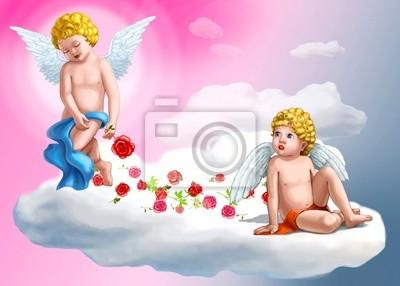 Постер Разные детские постеры Две сладкие ангелыРазные детские постеры<br>Постер на холсте или бумаге. Любого нужного вам размера. В раме или без. Подвес в комплекте. Трехслойная надежная упаковка. Доставим в любую точку России. Вам осталось только повесить картину на стену!<br>