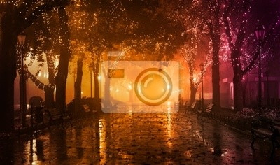 Постер Одесса Скамейка в ночном переулке с подсветкой в Одессе, Украина.Одесса<br>Постер на холсте или бумаге. Любого нужного вам размера. В раме или без. Подвес в комплекте. Трехслойная надежная упаковка. Доставим в любую точку России. Вам осталось только повесить картину на стену!<br>
