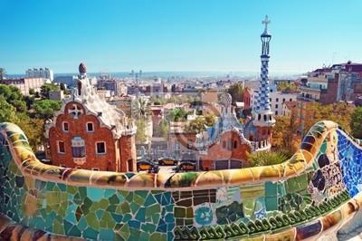 Постер Барселона Парк Гуэль в Барселоне. Барселона - ИспанияБарселона<br>Постер на холсте или бумаге. Любого нужного вам размера. В раме или без. Подвес в комплекте. Трехслойная надежная упаковка. Доставим в любую точку России. Вам осталось только повесить картину на стену!<br>