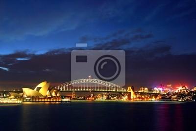 Постер Сидней Sydney Opera House и Harbour Bridge на Ночь..Сидней<br>Постер на холсте или бумаге. Любого нужного вам размера. В раме или без. Подвес в комплекте. Трехслойная надежная упаковка. Доставим в любую точку России. Вам осталось только повесить картину на стену!<br>