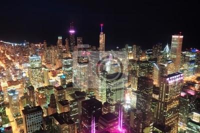 Постер Чикаго Чикаго ночной вид с воздухаЧикаго<br>Постер на холсте или бумаге. Любого нужного вам размера. В раме или без. Подвес в комплекте. Трехслойная надежная упаковка. Доставим в любую точку России. Вам осталось только повесить картину на стену!<br>