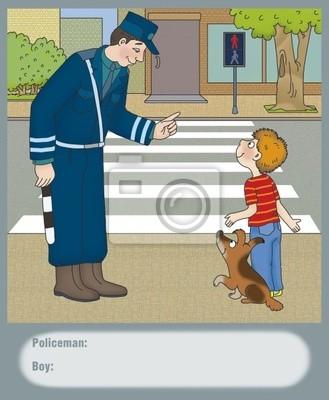 Постер ПДД Полицейский предупредил мальчика об опасностиПДД<br>Постер на холсте или бумаге. Любого нужного вам размера. В раме или без. Подвес в комплекте. Трехслойная надежная упаковка. Доставим в любую точку России. Вам осталось только повесить картину на стену!<br>