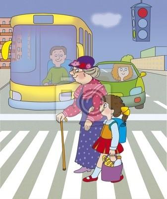 Постер ПДД Девочка помогает бабушке перейти улицуПДД<br>Постер на холсте или бумаге. Любого нужного вам размера. В раме или без. Подвес в комплекте. Трехслойная надежная упаковка. Доставим в любую точку России. Вам осталось только повесить картину на стену!<br>