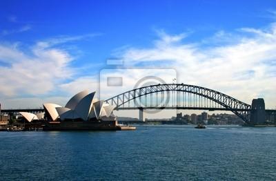 Постер Сидней Sydney Opera House и Harbour Bridge..Сидней<br>Постер на холсте или бумаге. Любого нужного вам размера. В раме или без. Подвес в комплекте. Трехслойная надежная упаковка. Доставим в любую точку России. Вам осталось только повесить картину на стену!<br>