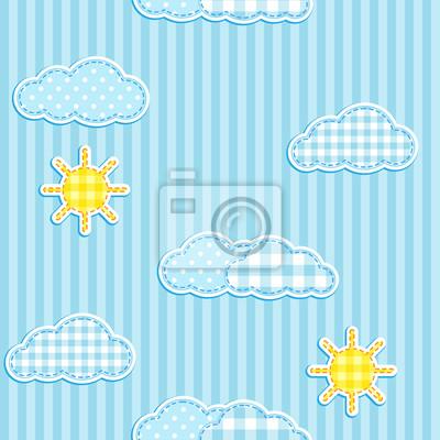 Постер Дизайнерские обои для детской Синий цельной картины с симпатичные облака и солнцеДизайнерские обои для детской<br>Постер на холсте или бумаге. Любого нужного вам размера. В раме или без. Подвес в комплекте. Трехслойная надежная упаковка. Доставим в любую точку России. Вам осталось только повесить картину на стену!<br>