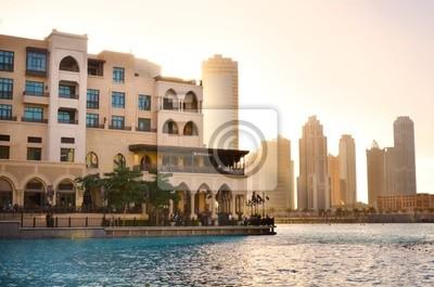 Постер Дубай Dubai downtown на закате, ОАЭДубай<br>Постер на холсте или бумаге. Любого нужного вам размера. В раме или без. Подвес в комплекте. Трехслойная надежная упаковка. Доставим в любую точку России. Вам осталось только повесить картину на стену!<br>