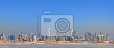 Постер Дубай Панорама города Дубай. Центр города, небоскребыДубай<br>Постер на холсте или бумаге. Любого нужного вам размера. В раме или без. Подвес в комплекте. Трехслойная надежная упаковка. Доставим в любую точку России. Вам осталось только повесить картину на стену!<br>