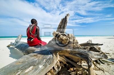 Постер Кения Масаи, сидя на берегу океана на пляжеКения<br>Постер на холсте или бумаге. Любого нужного вам размера. В раме или без. Подвес в комплекте. Трехслойная надежная упаковка. Доставим в любую точку России. Вам осталось только повесить картину на стену!<br>