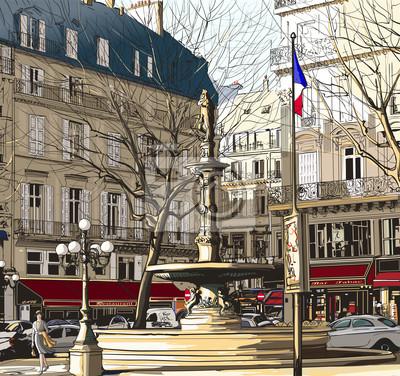 Постер Современный городской пейзаж Париж - Пале-РояльСовременный городской пейзаж<br>Постер на холсте или бумаге. Любого нужного вам размера. В раме или без. Подвес в комплекте. Трехслойная надежная упаковка. Доставим в любую точку России. Вам осталось только повесить картину на стену!<br>