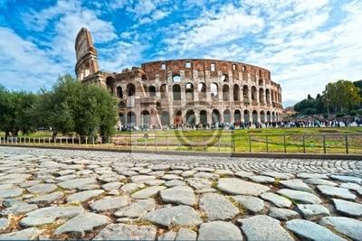 Постер Рим Величественный Амфитеатр Колизей, Рим, Италия.Рим<br>Постер на холсте или бумаге. Любого нужного вам размера. В раме или без. Подвес в комплекте. Трехслойная надежная упаковка. Доставим в любую точку России. Вам осталось только повесить картину на стену!<br>