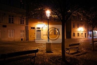 Постер Прага Красивый вид ночь на улице в ПрагеПрага<br>Постер на холсте или бумаге. Любого нужного вам размера. В раме или без. Подвес в комплекте. Трехслойная надежная упаковка. Доставим в любую точку России. Вам осталось только повесить картину на стену!<br>