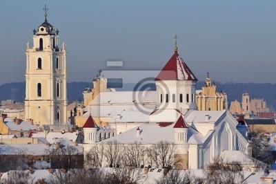 Старый город Вильнюса пейзаж, зима утро, 30x20 см, на бумагеЛитва<br>Постер на холсте или бумаге. Любого нужного вам размера. В раме или без. Подвес в комплекте. Трехслойная надежная упаковка. Доставим в любую точку России. Вам осталось только повесить картину на стену!<br>