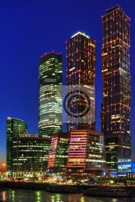 Постер Москва-Сити Ночные небоскребы МосквыМосква-Сити<br>Постер на холсте или бумаге. Любого нужного вам размера. В раме или без. Подвес в комплекте. Трехслойная надежная упаковка. Доставим в любую точку России. Вам осталось только повесить картину на стену!<br>