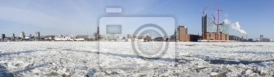 """Постер Гамбург """"Ultra широкую панораму Гамбурга набережной зимой"""""""