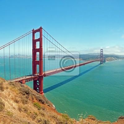 Постер Сан-Франциско Мост золотые Ворота в Сан-Франциско с лазурными ВВЦСан-Франциско<br>Постер на холсте или бумаге. Любого нужного вам размера. В раме или без. Подвес в комплекте. Трехслойная надежная упаковка. Доставим в любую точку России. Вам осталось только повесить картину на стену!<br>