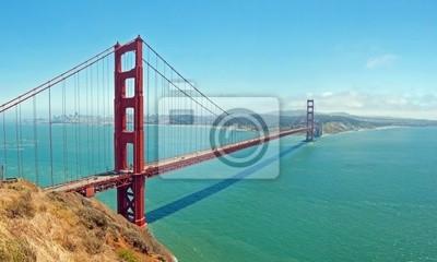 Постер Города и карты Мост золотые Ворота в Сан-Франциско с лазурными ВВЦ, 33x20 см, на бумагеСан-Франциско<br>Постер на холсте или бумаге. Любого нужного вам размера. В раме или без. Подвес в комплекте. Трехслойная надежная упаковка. Доставим в любую точку России. Вам осталось только повесить картину на стену!<br>
