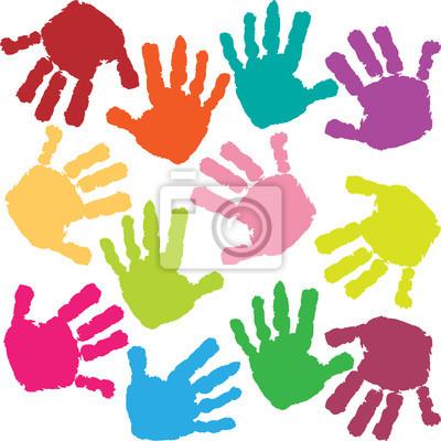Постер Дизайнерские обои для детской Отпечатки рук ребенкаДизайнерские обои для детской<br>Постер на холсте или бумаге. Любого нужного вам размера. В раме или без. Подвес в комплекте. Трехслойная надежная упаковка. Доставим в любую точку России. Вам осталось только повесить картину на стену!<br>