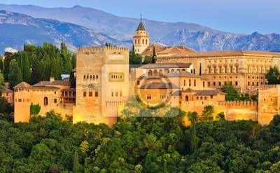 Постер Испания Дворец Альгамбра, Гранада, ИспанияИспания<br>Постер на холсте или бумаге. Любого нужного вам размера. В раме или без. Подвес в комплекте. Трехслойная надежная упаковка. Доставим в любую точку России. Вам осталось только повесить картину на стену!<br>