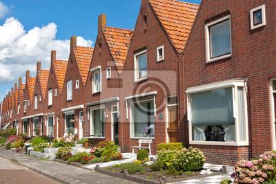 Постер Голландия Типичные голландские семейных домов. Современная архитектура в НидерландыГолландия<br>Постер на холсте или бумаге. Любого нужного вам размера. В раме или без. Подвес в комплекте. Трехслойная надежная упаковка. Доставим в любую точку России. Вам осталось только повесить картину на стену!<br>