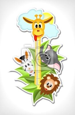 Постер Оформление детской Шкала с веселыми животными, 60x92 см, обоиДизайнерские обои для детской<br>Постер на холсте или бумаге. Любого нужного вам размера. В раме или без. Подвес в комплекте. Трехслойная надежная упаковка. Доставим в любую точку России. Вам осталось только повесить картину на стену!<br>