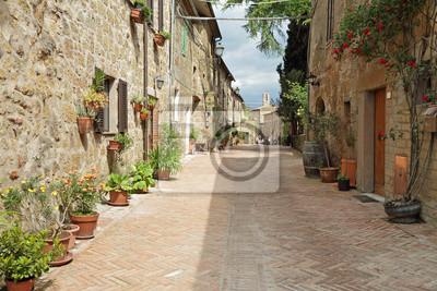 Постер Тоскана Улицы вымощены кирпичом в старых итальянских borgo Sovana в Тоскане,Тоскана<br>Постер на холсте или бумаге. Любого нужного вам размера. В раме или без. Подвес в комплекте. Трехслойная надежная упаковка. Доставим в любую точку России. Вам осталось только повесить картину на стену!<br>