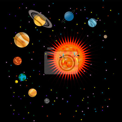 Постер Космос детям Солнечная система симпатичные иллюстрацииКосмос детям<br>Постер на холсте или бумаге. Любого нужного вам размера. В раме или без. Подвес в комплекте. Трехслойная надежная упаковка. Доставим в любую точку России. Вам осталось только повесить картину на стену!<br>