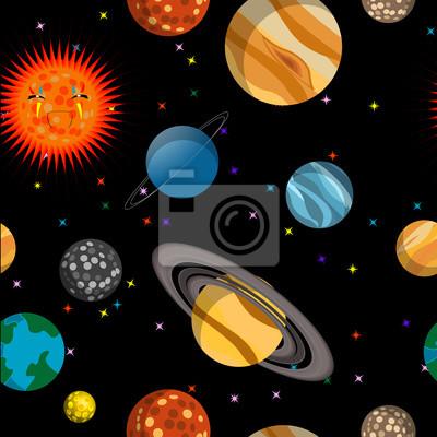Постер Космос детям Бесшовные модели с планетамиКосмос детям<br>Постер на холсте или бумаге. Любого нужного вам размера. В раме или без. Подвес в комплекте. Трехслойная надежная упаковка. Доставим в любую точку России. Вам осталось только повесить картину на стену!<br>