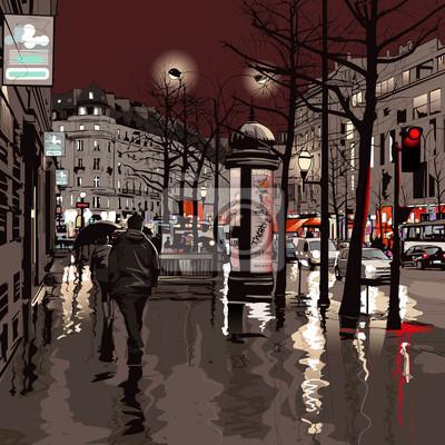 Постер Современный городской пейзаж Париж ночьюСовременный городской пейзаж<br>Постер на холсте или бумаге. Любого нужного вам размера. В раме или без. Подвес в комплекте. Трехслойная надежная упаковка. Доставим в любую точку России. Вам осталось только повесить картину на стену!<br>
