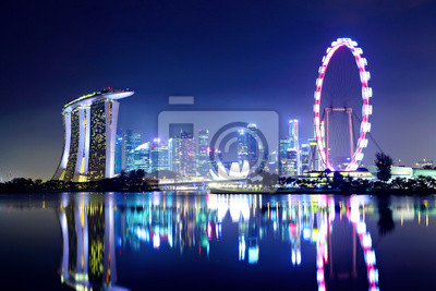 Постер Города и карты Сингапур-город ночью, 30x20 см, на бумагеСингапур<br>Постер на холсте или бумаге. Любого нужного вам размера. В раме или без. Подвес в комплекте. Трехслойная надежная упаковка. Доставим в любую точку России. Вам осталось только повесить картину на стену!<br>