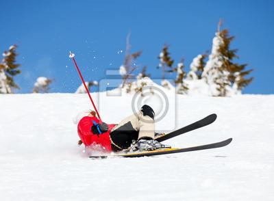 Девушка лыжник падает белый на склоне горы, 27x20 см, на бумагеГорные лыжи<br>Постер на холсте или бумаге. Любого нужного вам размера. В раме или без. Подвес в комплекте. Трехслойная надежная упаковка. Доставим в любую точку России. Вам осталось только повесить картину на стену!<br>