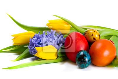 Постер Гиацинты Красочные пасхальных яиц с весенними цветамиГиацинты<br>Постер на холсте или бумаге. Любого нужного вам размера. В раме или без. Подвес в комплекте. Трехслойная надежная упаковка. Доставим в любую точку России. Вам осталось только повесить картину на стену!<br>