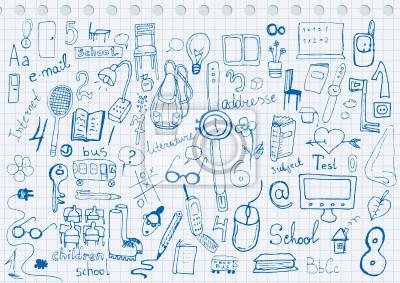 Постер Дизайнерские обои для детской Рисунок стороны набор школьных предметовДизайнерские обои для детской<br>Постер на холсте или бумаге. Любого нужного вам размера. В раме или без. Подвес в комплекте. Трехслойная надежная упаковка. Доставим в любую точку России. Вам осталось только повесить картину на стену!<br>