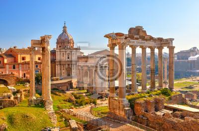 Постер Рим Римские развалины в Риме, ФорумРим<br>Постер на холсте или бумаге. Любого нужного вам размера. В раме или без. Подвес в комплекте. Трехслойная надежная упаковка. Доставим в любую точку России. Вам осталось только повесить картину на стену!<br>