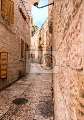 Аллея в старом городе в Иерусалиме., 20x28 см, на бумагеИерусалим<br>Постер на холсте или бумаге. Любого нужного вам размера. В раме или без. Подвес в комплекте. Трехслойная надежная упаковка. Доставим в любую точку России. Вам осталось только повесить картину на стену!<br>