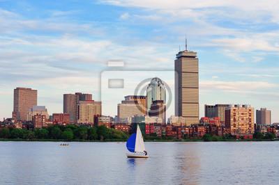 Постер Бостон Бостон горизонта над рекойБостон<br>Постер на холсте или бумаге. Любого нужного вам размера. В раме или без. Подвес в комплекте. Трехслойная надежная упаковка. Доставим в любую точку России. Вам осталось только повесить картину на стену!<br>