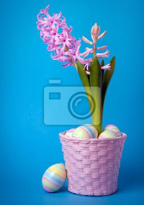 Пасхальная композиция с розового гиацинта и крашеные яйца, 20x28 см, на бумагеГиацинты<br>Постер на холсте или бумаге. Любого нужного вам размера. В раме или без. Подвес в комплекте. Трехслойная надежная упаковка. Доставим в любую точку России. Вам осталось только повесить картину на стену!<br>