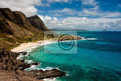 Постер Гавайи Живописный вид из Makapu Пляже на ГавайяхГавайи<br>Постер на холсте или бумаге. Любого нужного вам размера. В раме или без. Подвес в комплекте. Трехслойная надежная упаковка. Доставим в любую точку России. Вам осталось только повесить картину на стену!<br>