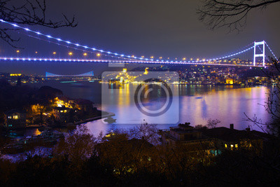 Постер Стамбул Фатих Султан Мехмет Мост на ночь, 6Стамбул<br>Постер на холсте или бумаге. Любого нужного вам размера. В раме или без. Подвес в комплекте. Трехслойная надежная упаковка. Доставим в любую точку России. Вам осталось только повесить картину на стену!<br>