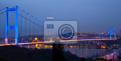 Постер Стамбул Фатих Султан Мехмет Мост на ночь 2Стамбул<br>Постер на холсте или бумаге. Любого нужного вам размера. В раме или без. Подвес в комплекте. Трехслойная надежная упаковка. Доставим в любую точку России. Вам осталось только повесить картину на стену!<br>