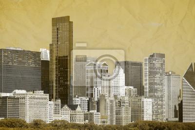 Постер Чикаго Vintage Design - ЧикагоЧикаго<br>Постер на холсте или бумаге. Любого нужного вам размера. В раме или без. Подвес в комплекте. Трехслойная надежная упаковка. Доставим в любую точку России. Вам осталось только повесить картину на стену!<br>