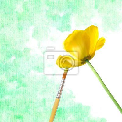 Постер Тюльпаны Кисти, краски, желтый тюльпанТюльпаны<br>Постер на холсте или бумаге. Любого нужного вам размера. В раме или без. Подвес в комплекте. Трехслойная надежная упаковка. Доставим в любую точку России. Вам осталось только повесить картину на стену!<br>