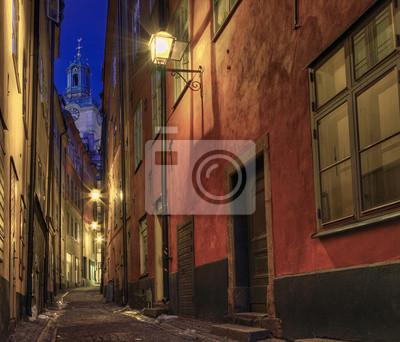 Постер Стокгольм Ночью в переулке, в Старом Городе.Стокгольм<br>Постер на холсте или бумаге. Любого нужного вам размера. В раме или без. Подвес в комплекте. Трехслойная надежная упаковка. Доставим в любую точку России. Вам осталось только повесить картину на стену!<br>