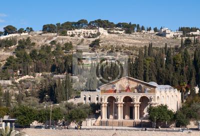Постер Иерусалим Горе Елеонской и церковь Всех Наций в Иерусалиме, ИзраильИерусалим<br>Постер на холсте или бумаге. Любого нужного вам размера. В раме или без. Подвес в комплекте. Трехслойная надежная упаковка. Доставим в любую точку России. Вам осталось только повесить картину на стену!<br>