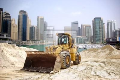 Постер ОАЭ Строительство трактор в Дубае, Объединенные Арабские Эмираты .ОАЭ<br>Постер на холсте или бумаге. Любого нужного вам размера. В раме или без. Подвес в комплекте. Трехслойная надежная упаковка. Доставим в любую точку России. Вам осталось только повесить картину на стену!<br>