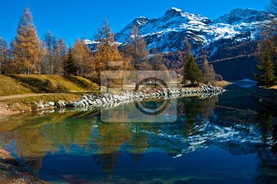 Постер Альпийский пейзаж Швейцарские Озера СильвапланаАльпийский пейзаж<br>Постер на холсте или бумаге. Любого нужного вам размера. В раме или без. Подвес в комплекте. Трехслойная надежная упаковка. Доставим в любую точку России. Вам осталось только повесить картину на стену!<br>