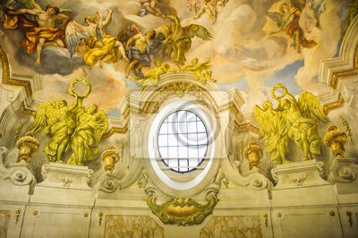 Постер Вена Деталь фрески в  Сент-Чарльз  церковь (Karlskirche) яВена<br>Постер на холсте или бумаге. Любого нужного вам размера. В раме или без. Подвес в комплекте. Трехслойная надежная упаковка. Доставим в любую точку России. Вам осталось только повесить картину на стену!<br>