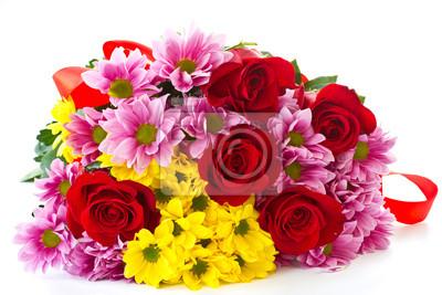 Постер Хризантемы Красивые красные розы и хризантемыХризантемы<br>Постер на холсте или бумаге. Любого нужного вам размера. В раме или без. Подвес в комплекте. Трехслойная надежная упаковка. Доставим в любую точку России. Вам осталось только повесить картину на стену!<br>