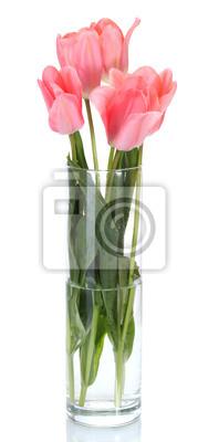 Постер Тюльпаны Красивые розовые тюльпаны в стеклянной вазе, изолированных на белый.Тюльпаны<br>Постер на холсте или бумаге. Любого нужного вам размера. В раме или без. Подвес в комплекте. Трехслойная надежная упаковка. Доставим в любую точку России. Вам осталось только повесить картину на стену!<br>