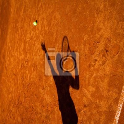 Постер Спорт Тень теннисист в действие на Теннисный корт, 20x20 см, на бумагеБольшой теннис<br>Постер на холсте или бумаге. Любого нужного вам размера. В раме или без. Подвес в комплекте. Трехслойная надежная упаковка. Доставим в любую точку России. Вам осталось только повесить картину на стену!<br>